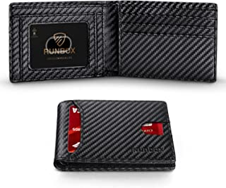 Runbox Leather Bifold Wallets for Men with Rfid Blocking Large Capacity ID's Window Front Pocket Mens Wallet