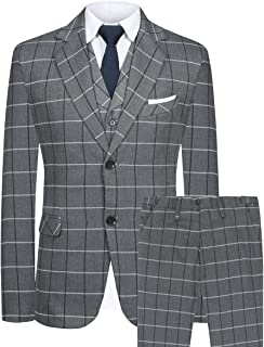 Men's Slim Fit Suit Blazer Jacket Tux Vest & Trousers 3-Piece Suit Set