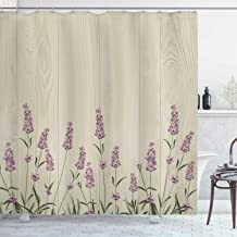 Ambesonne Lavender Shower Curtain, Aromatic Herbs on Wooden Planks Springtime Nature Botany Illustration, Fabric Bathroom Decor Set with Hooks, 70 Inches, Lilac Pale Sage Green