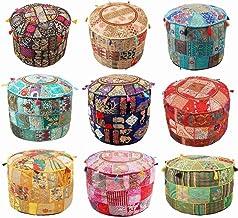 Indian Hippie Vintage Katoen Vloerkussen & Kussen Patchwork Bean Bag Stoel Cover Boho Bohemian Hand Geborduurd Handgemaakt...