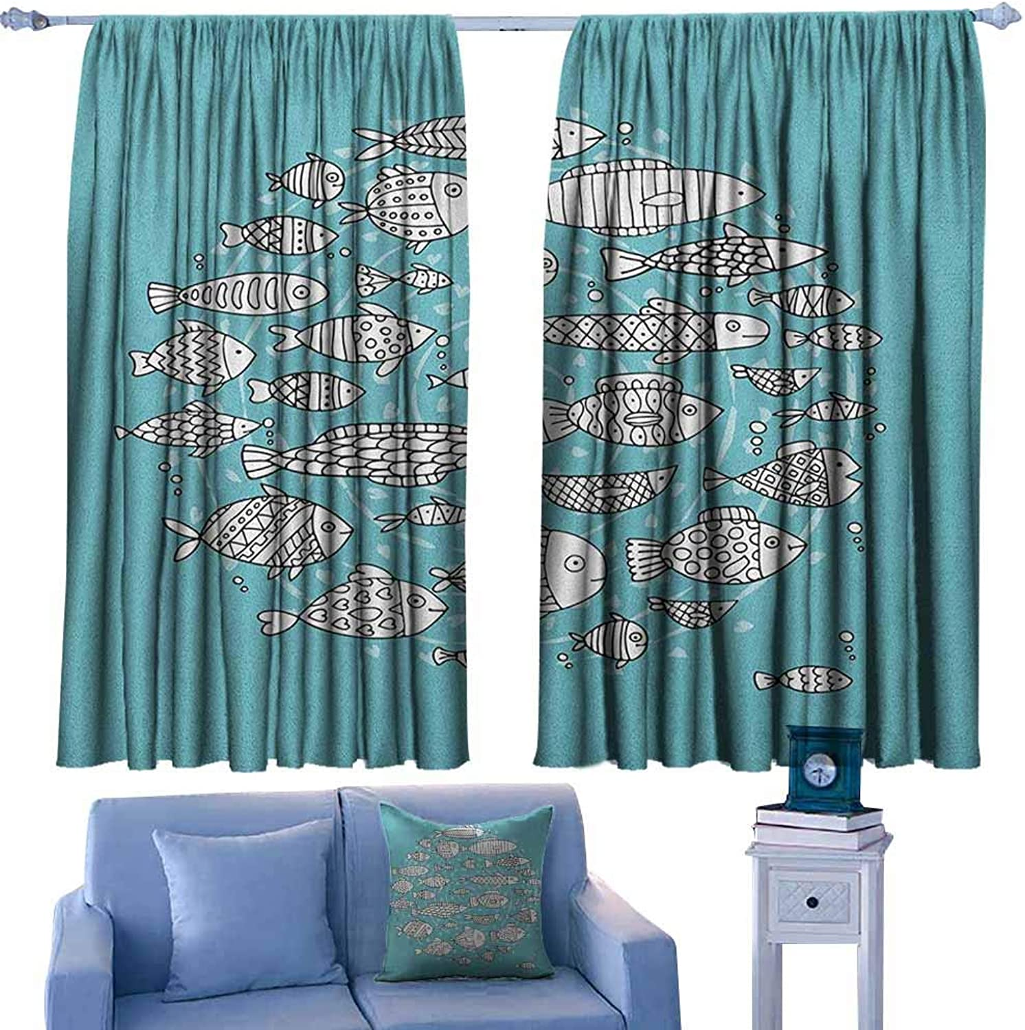 AndyTours Curtains for livingroom Bedroom,Doodle Baby Fish Community Swimming in The Ocean Kids Nursery Playroom Cartoon,Darkening Thermal Insulated Blackout,W63x45L Inches Pale bluee and White