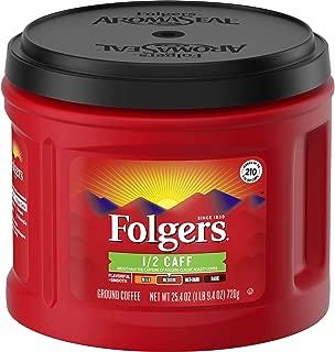 Folgers 1/2 Caff Coffee, Half Caffeinated Medium Roast Ground Coffee Canister, 25.4 Ounces