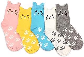 5 Pares Divertidos Calcetines Mujer Algodon, Graciosos Calcetines Mujer Gatos Invierno