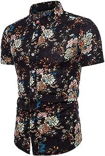 Winwinus Mens Mid-Long Plus Size Plaid Contrast Color Button Down Shirt