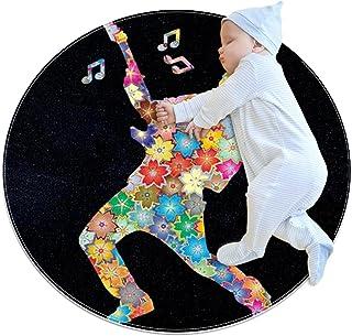 Singer illustration, barn rund matta polyester överkast matta mjuk pedagogisk tvättbar matta barnkammare tipi tält lekmatta