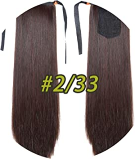 world-palm 10 Colors 22'' Long Straight Drawstring Ponytail Black/Blond Heat Resistance Hairpiece Clip In Hair Extension For Woman,2.33,26inches