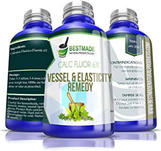 Calc Fluor 6X Vessel & Elasticity Remedy - Support for Muscles, Tendons, Ligaments - Helps with Hemorrhoids, Varicose Vein...