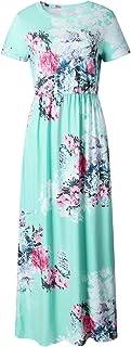 فستان Y&D نسائي بدون أكمام بياقة على شكل حرف V بلون أخضر سادة بدون رباط