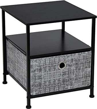 Sorbus Nightstand 1-Drawer Shelf Storage- Bedside Furniture & Accent End Table Chest for Home, Bedroom, Office, College D