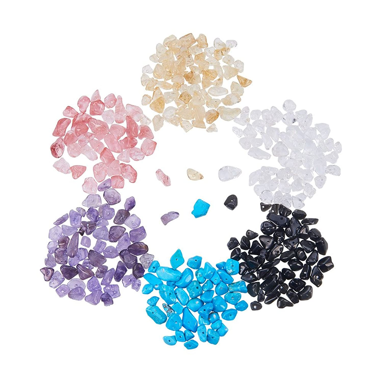 PandaHall Elite 1 Box Chip Gemstone Beads Crushed Pieces Stone Length 3-8mm for Jewelry Making 8 Styles
