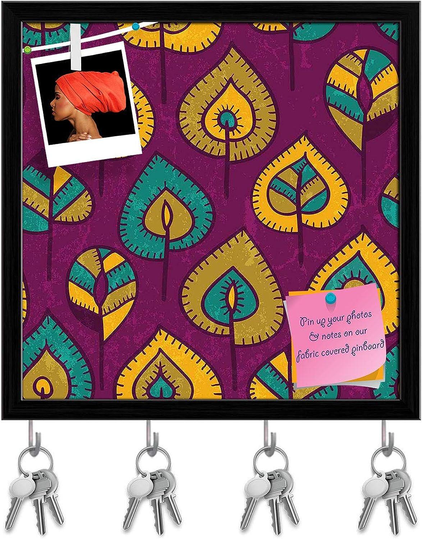 Artzfolio Stylized Leaves Key Holder Hooks   Notice Pin Board   Black Frame 16 X 16Inch