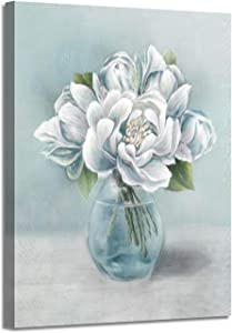 ARTISTIC PATH Abstract Peony Canvas Wall Art: Blossom Bouquet White Flowers in Glass Bottle Canvas Painting Artwork for Bathroom (12''W x 16''H,Multi-Sized)