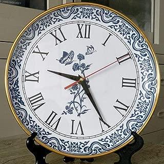 HONGGE Mantel Clocks,Living Room Blue and White Porcelain Grandfather Clock Creative Simple Blue and White Porcelain Hanging Grandfather Clock 26x4cm