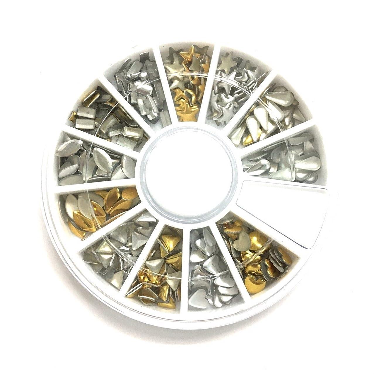 層投資する色合い【ネイルウーマン】メタルスタッズ 12種類セット ゴールド シルバー ラウンドケース入り