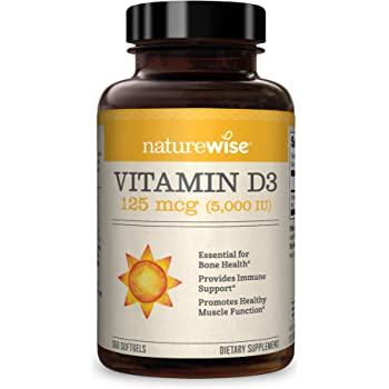 NatureWise Vitamin D3 5,000 IU (1 Year Supply) for Healthy Muscle Function, Bone Health, and Immune Support Non-GMO in Cold-Pressed Organic Olive Oil Gluten-Free (Packaging May Vary) (360 Count)