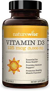NatureWise Vitamin D3 5, 000 IU (1 Year Supply) for Healthy Muscle Function, Bone Health, and Immune Support Non-GMO in Co...
