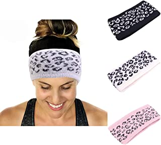 Ever Fairy Soft Leopard Cable Knit Fuzzy Lined Head Wrap Headband Ear Warmer Stretch Winter Warm Headband 6 Colors to Chose