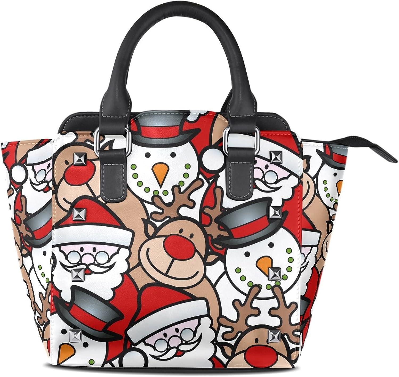Sunlome Cute Christmas Santa Snowman Deer Print Handbags Women's PU Leather Top-Handle Shoulder Bags