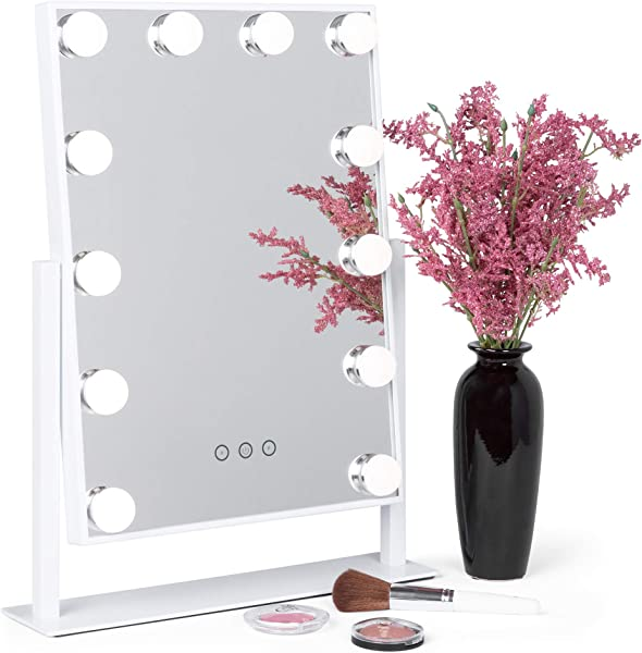 Best Choice Products Smart Touch Lighted Tabletop Hollywood Vanity Mirror Accent D Cor W 12 LED Lights Adjustable Color Temperature And Brightness White