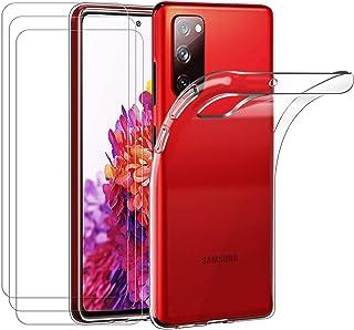 ivoler Fodral till Samsung Galaxy S20 FE (5G) [3 st] pansarglas, genomskinlig mobiltelefonfodral transparent silikon TPU s...