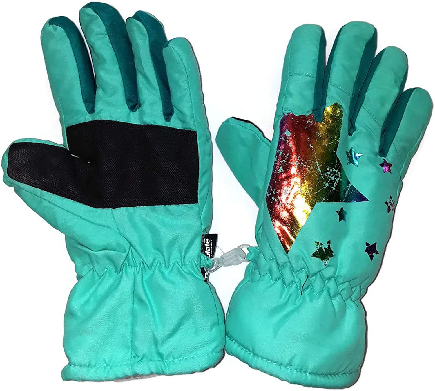 Girls Rainbow Print Rare Free shipping anywhere in the nation Star Ski L size Gloves M