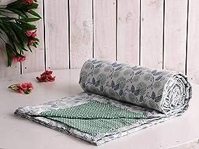 "Trance Home Linen Cotton Single Dohar 58"" x 90"" (Spring Green Blue Leaves)"