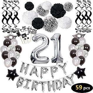 Birthday Decorations,21st Happy Birthday Decorations Balloons Party Supplies,21 Birthday Balloons Banners Confetti Hanging...