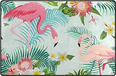 Jstel Ingbags Super Doux moderne Tropic Fleur Flamingo Feuille de palmier et plantes Zone Tapis Tapis de salon Chambre à coucher Tapis pour enfants jouer solide Home Decorator Sol Tapis et moquettes 78,7x 50,8cm, multicolore, 31 x 20 inch