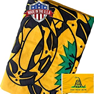 3 Ply Gadsden Snake Flag 3x5 Outdoor- Double Sided Polyester Dont Tread On Me Flags Banners- Libertarian Flag with Vivid P...