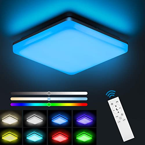 NIXIUKOL Plafonnier Led 24W RGB, Luminaire Plafonnier avec télécommande, couleur de lumière et luminosité dimmable, I...