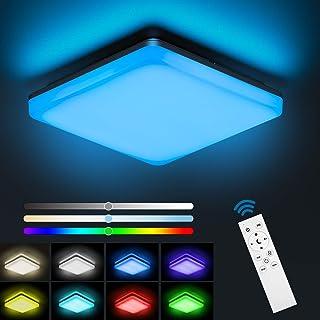 NIXIUKOL Plafonnier Led 24W RGB, Luminaire Plafonnier avec télécommande, couleur de lumière et luminosité dimmable, IP54 I...