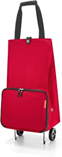 reisenthel Foldable Trolley Bag, Packable Oversized Tote with Wheels, Red