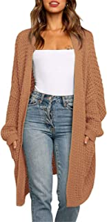Byinns Womens Mid-Length Cardigans Knitwear Solid Color Casual Loose Open Front Sweater Coat with Pockets Outwear