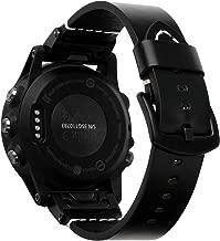 Compatible with Garmin Fenix 5X Band, iWonow 26mm Quick Fit Genuine Leather Watch Band Strap Replacement for Fenix 5X Plus/3/ 3HR, Tactix Bravo, Quatix 3 Smartwatch Black
