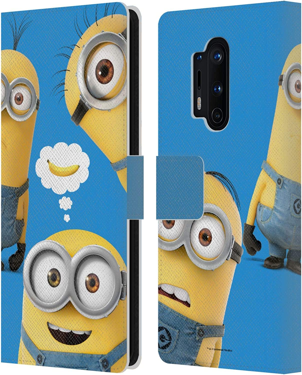 Official Despicable Me Bad Decisions Funny Minions Leather Book Wallet Case Cover Compatible For OnePlus 8 Pro
