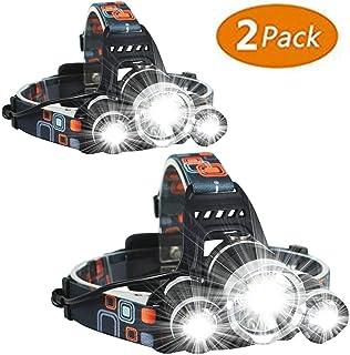 最新の10000ルーメン LEDヘッドライト USB充電式 3*CREE XM-L T6 18650型バッテリー 付属 防水 4点灯モード 作業灯 防災 登山 釣り ランニング 夜釣り電池付属-(LED ヘッドランプ2パック)