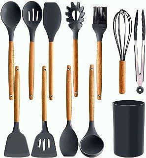 Kitchen Utensil Set by REENOSH-12pcs Non-Stick Silicone Kitchen Utensil Set with Holder-Silicone Utensils, Cooking Utensil...