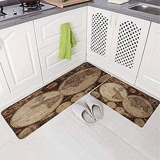 2 Piece Non-Slip Kitchen Mat Rug Set Doormat 3D Print,Made in 1720s Nostalgic Style Art Historical Atlas,Bedroom Living Room Coffee Table Household Skin Care Carpet Window Mat,