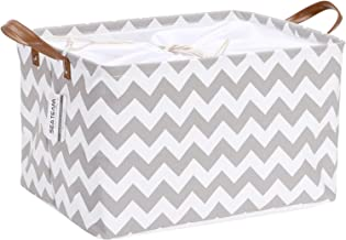 Sea Team Canvas Fabric Storage Basket Collapsible Geometric Design Storage Bin with Drawstring Cover and PU Leather Handle...