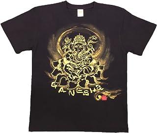 Tシャツ ガネーシャ イラスト前面 白黒 半袖 和柄 仏画 日本画 手描き 墨絵