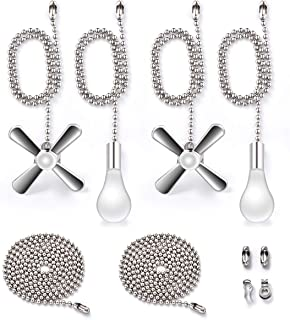 Fan Pull Chain with One Pair 35.4 inches Extension, Kinghouse 4 pcs 13.6 inches 3.2mm Beaded Ball Fan Pull Chain Set including Beaded and Pull Loop Connectors, Christmas Holiday Gift Set