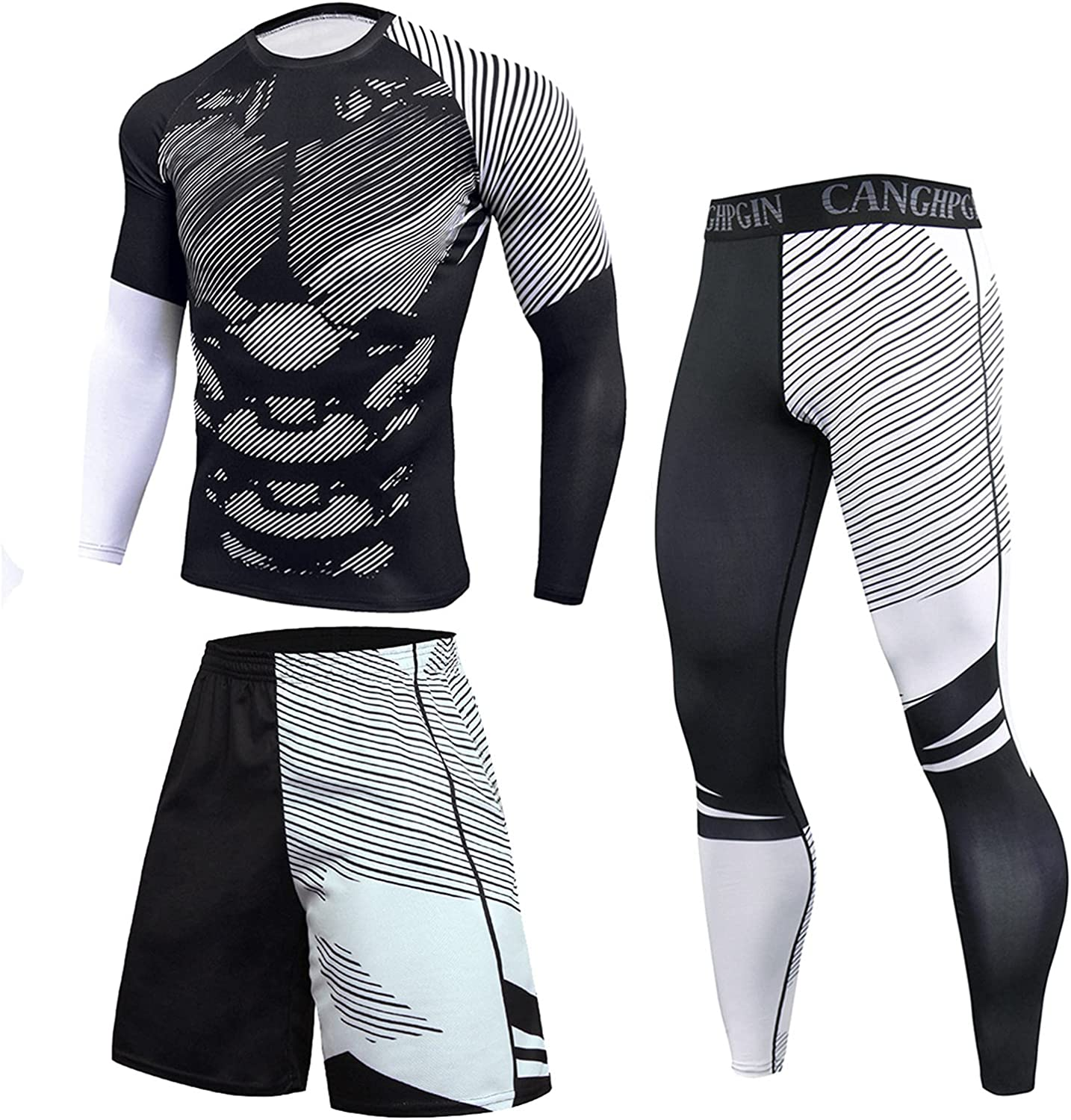 FUNEY 3PC Men's Sports Running Set Long Sleeve Shirt+Long Pants+Skin Tight Shorts Quick Dry Fitness Tracksuit Gym Yoga Suits