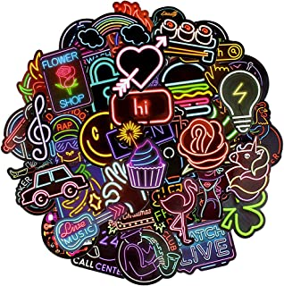 QTL Waterproof Vinyl Stickers for Laptop Scrapbook Car Decals (50 Pcs Neon Style)