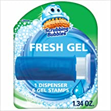 Scrubbing Bubbles Toilet Bowl Cleaning Gel Starter Kit, Includes Dispenser and Gel, Glade Rainshower Scent, 6 Stamps