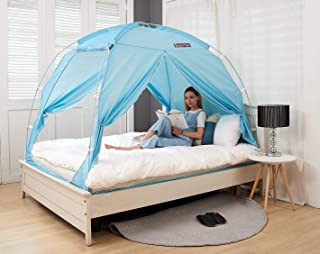 BESTEN Floorless Indoor Privacy Tent on Bed with Color Poles for Cozy Sleep in Drafty Rooms (Full/Queen, Mint)