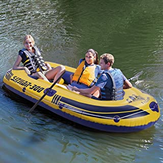 Inflatable Dinghy Boat - 3-4 Person Inflatable Rafts Set with Oars and High Output Air Pump - Inflatable Kayak Set with Paddles & Foot Pump for Kids Adults - Inflatable Floating Lounger Chair Toy