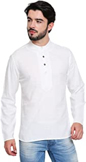 Shatranj Men's Band Collar Shirt-Length Slim Fit Kurta Tunic with Embroidery