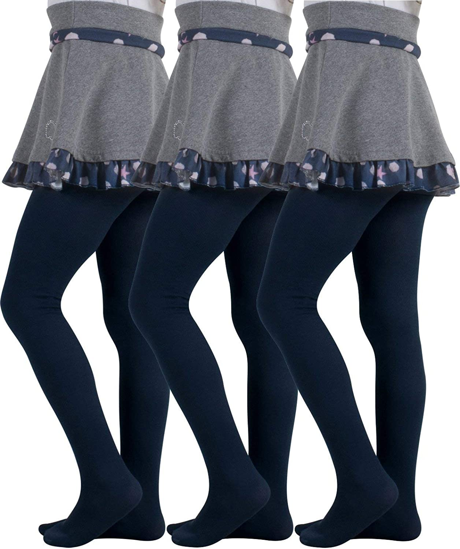 Freebily 3 Collant Bambina Invernali Cotone Calzamaglia Danza Classica da Balletto Leggins Sportivi Fitness Calze Lunghe Bimba con Fiore Collant Ballerina da Ballo Latino