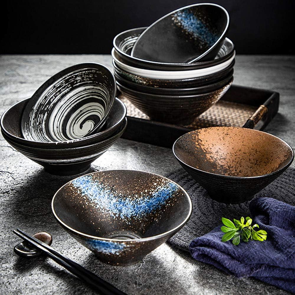 6 Piece Japanese Ramen Soup Bowls with Chopsticks and a Spoon Mixing Bowls Dishware Set Porcelain Bowls Home Kitchen Salad Bowls 2 Sets Jade Yellow
