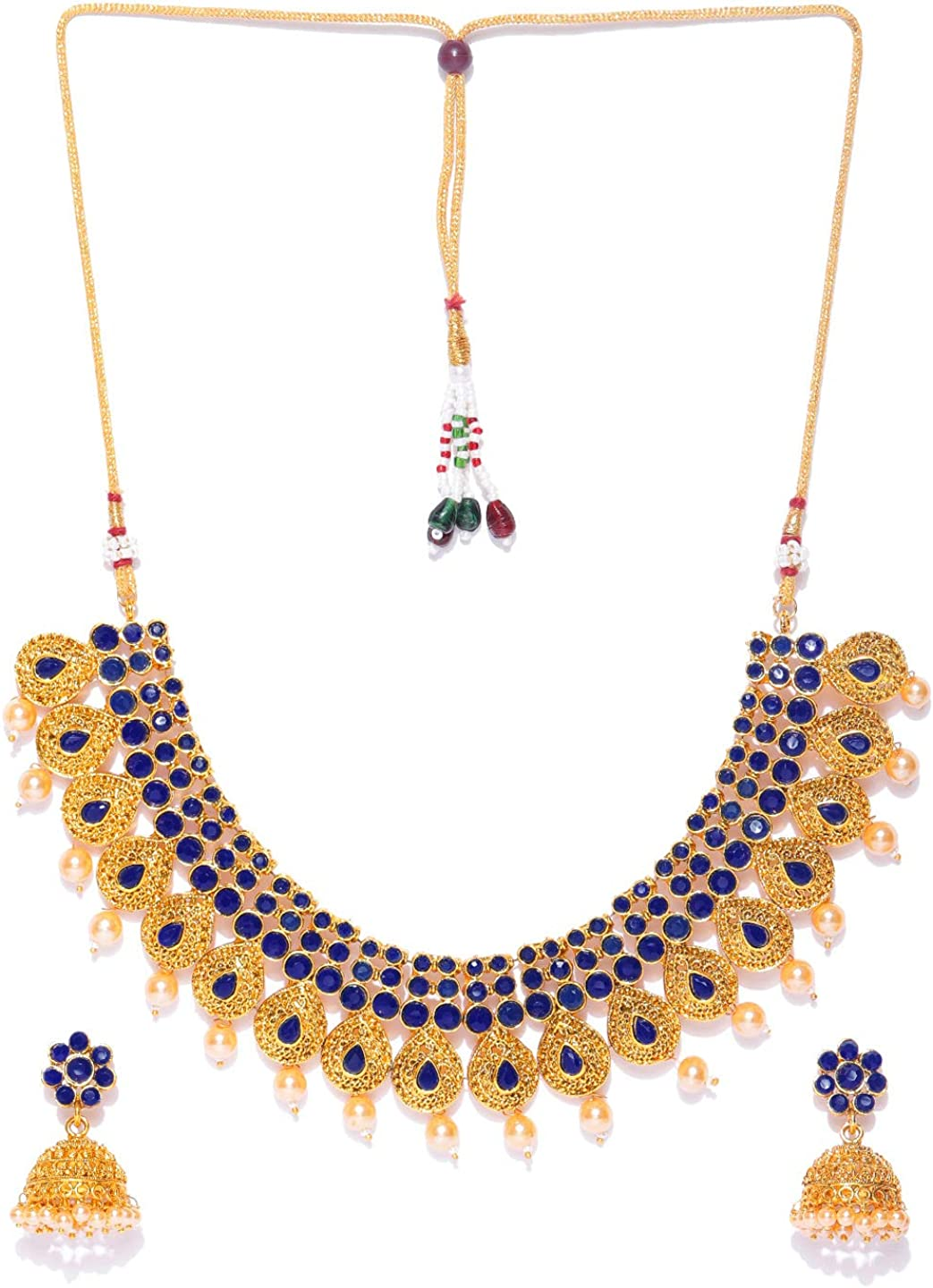 MANTH Navy Gold-Plated Stone-Studded Jewellery Set for Women and Girls